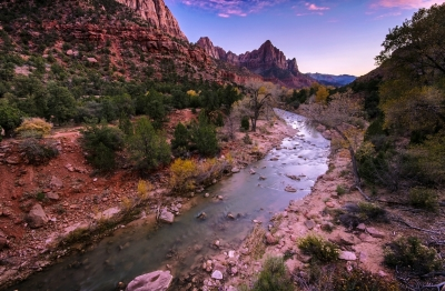 Watchman Peak and Virgin River.  ZIon National Park. Image courtesy of CNaene / FreeDigitalPhotos.net