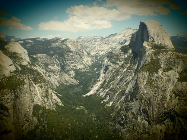 View from Glacier Point with Half Dome on the right.