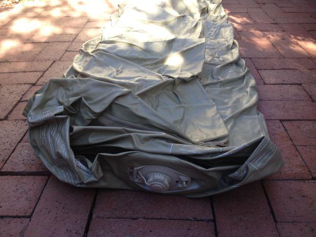 Unfolding the mattress.
