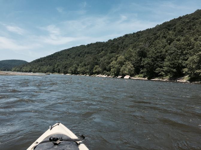 Going down the Allegheny River, past the town of Franklin, PA